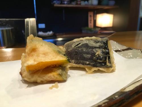 割烹・天ぷら よこい かぼちゃと茄子の天ぷら