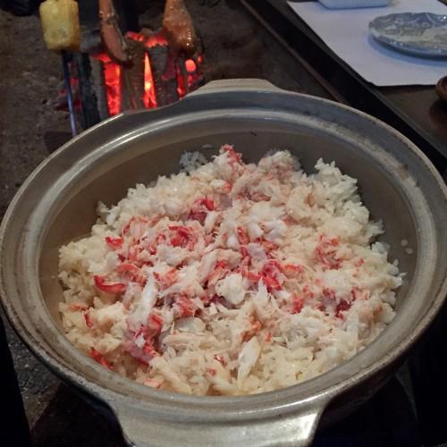 土鍋で炊いた蟹ご飯
