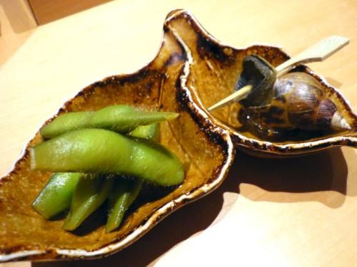 付だしのバイ貝と枝豆