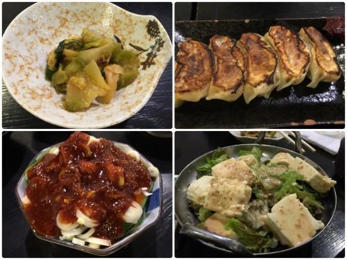お通しのザーサイ、一口餃子、ピリ辛きゅうり、豆腐サラダ