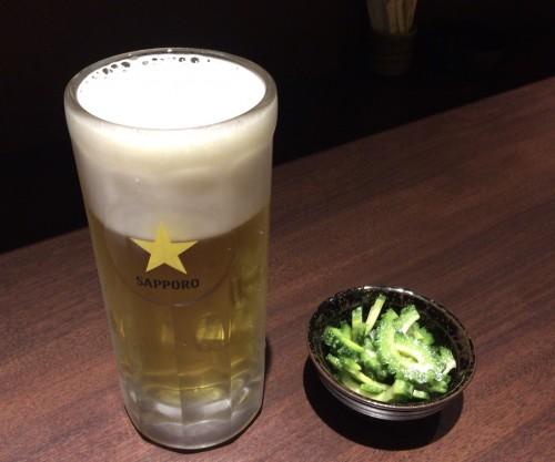 生ビールとお通しのゴーヤチャンプル