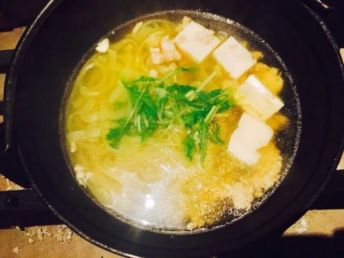 鶏そぼろときしめんの柚子胡椒鍋