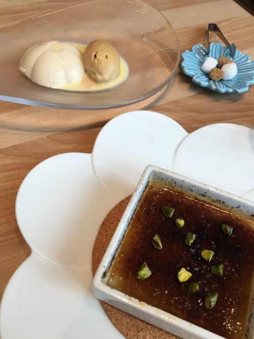デザートはアールグレイのパンナコッタと、ピスタチオのブリュレ
