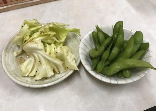 枝豆と塩キャベツ