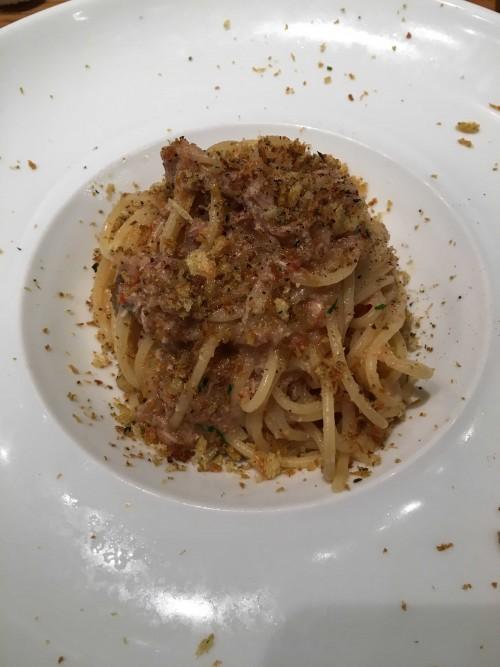 豚肉のリエットとセミドライトマトのスパゲッティ