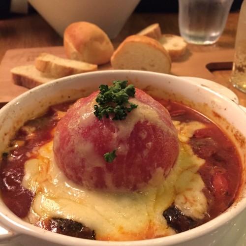 丸ごとトマトのチーズグラタンスープ